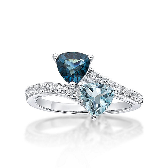 Womens Genuine Blue Topaz & Lab-Created White Sapphire Double Heart Sterling Silver Cocktail Ring