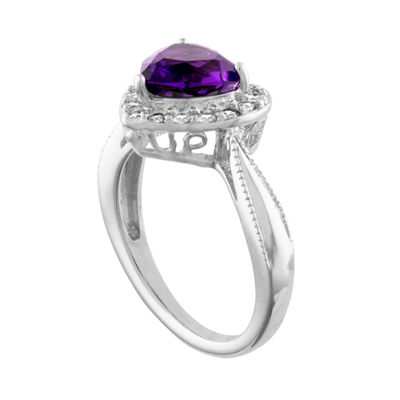 Womens Lab Created Purple Amethyst Sterling Silver Heart Cocktail Ring