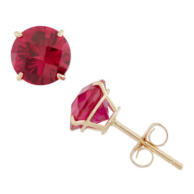 Round Red Ruby 10K Gold Stud Earrings