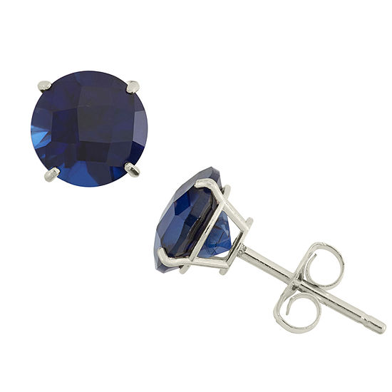 Lab Created Blue Sapphire 10K Gold 6mm Stud Earrings
