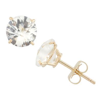 Round White Sapphire 10K Gold Stud Earrings