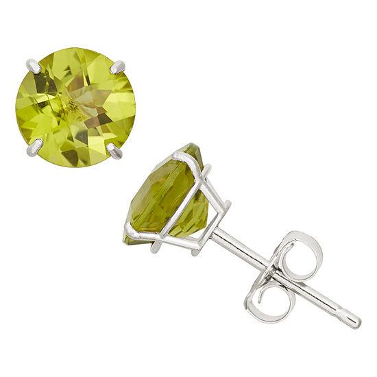 Genuine Green Peridot 10K Gold 6mm Stud Earrings