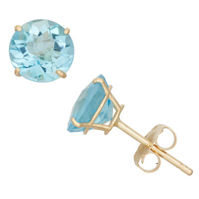 Round Blue Topaz 10K Gold Stud Earrings