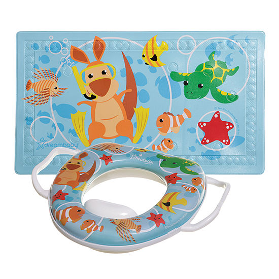 """Dreambaby® Watch-Your-Step® Anti-Slip Bath Mat with """"Too Hot"""" Indicator (L679) + Matching Easy Clean Potty (L678)"""