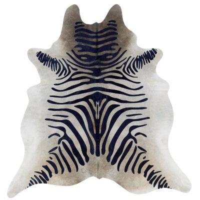 Cowhide Zebra Stencil Full Skin Rug