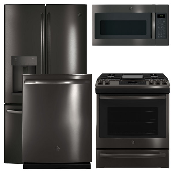GE® 4-pc. Gas Kitchen Package- Black Stainless