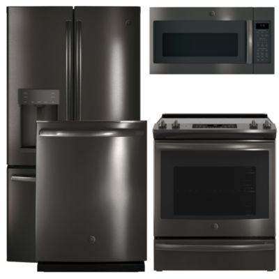 GE® 4-pc. Electric Kitchen Package- Black Stainless