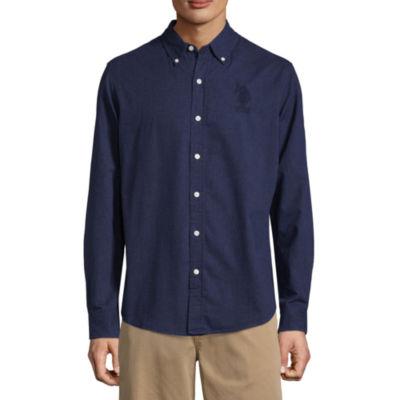 U.S. Polo Assn. Slim Hthr Shirt Long Sleeve Button-Front Shirt