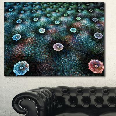 Designart Blue Flowers On Alien Planet Floral Canvas Art Print