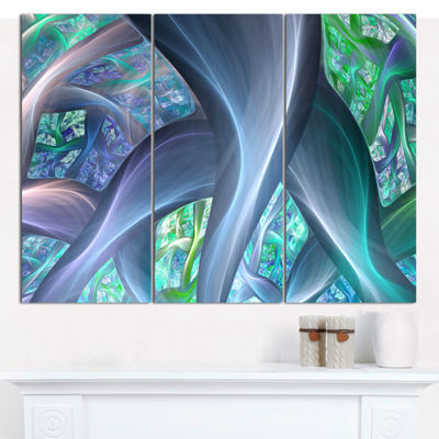 Designart Blue Fractal Exotic Plant Stems AbstractCanvas Art Print - 3 Panels
