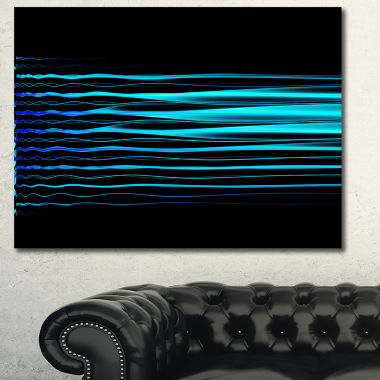 Designart Blue Fractal Flames On Black Abstract Art On Canvas