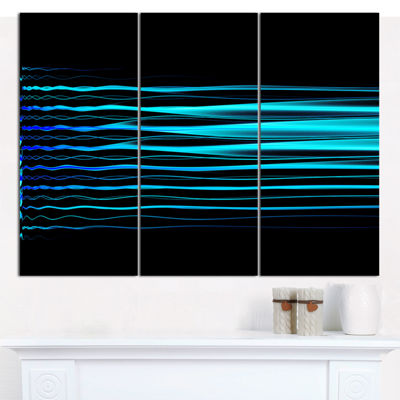 Designart Blue Fractal Flames On Black Abstract Art On Canvas - 3 Panels