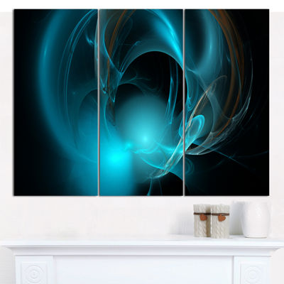 Designart Blue Fractal Galactic Nebula Abstract Canvas Art Print - 3 Panels