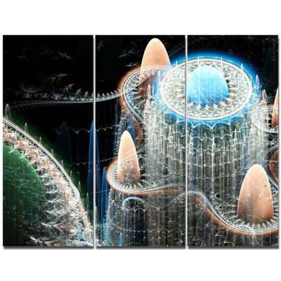 Designart Blue Fractal Infinite World Abstract ArtOn Canvas - 3 Panels