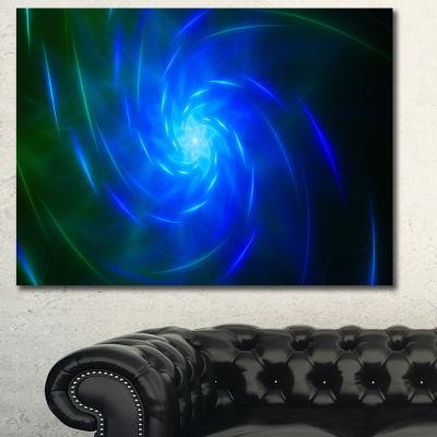 Designart Blue Fractal Whirlpool Design Abstract Canvas Art Print