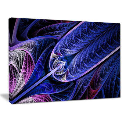 Designart Blue On Black Fractal Stained Glass Abstract Canvas Art Print