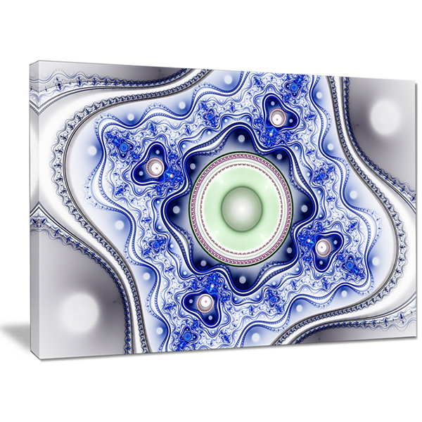 Designart Blue On White Pattern With Circles Abstract Canvas Wall Art