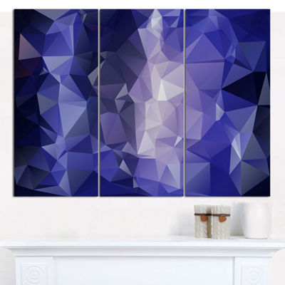 Designart Blue Polygonal Mosaic Pattern AbstractCanvas Art Print - 3 Panels