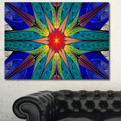 Designart Budding Fractal Colorful Flower AbstractCanvas Art Print - 3 Panels