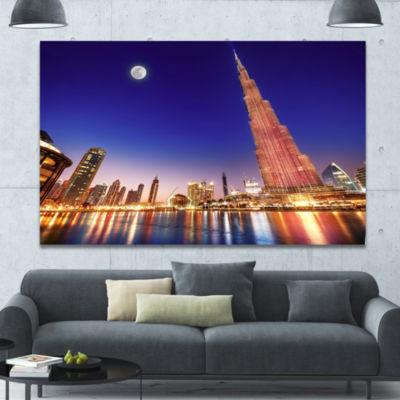 Designart Burj Khalifa Night Landscape CityscapeCanvas Art Print - 3 Panels