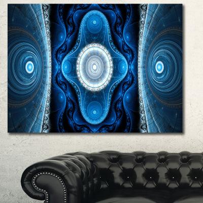 Designart Cabalistic Blue Fractal Design AbstractCanvas Art Print - 3 Panels