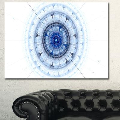 Designart Cabalistic Blue Fractal Sphere AbstractCanvas Art Print