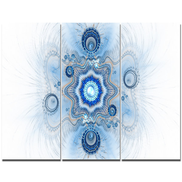 Designart Cabalistic Blue Star Flower Abstract Canvas Art Print - 3 Panels