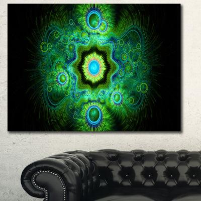 Design Art Cabalistic Bright Green Texture AbstractCanvas Art Print - 3 Panels