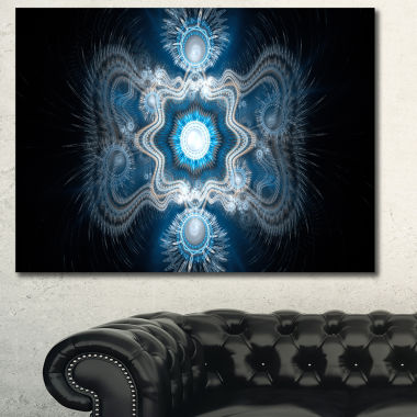 Designart Cabalistic Clear Blue Texture Abstract Canvas Art Print