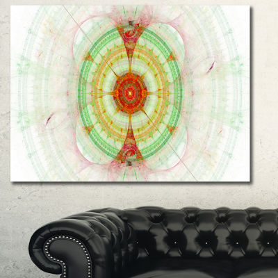 Designart Cabalistic Fractal Green Sphere AbstractWall Art Canvas - 3 Panels