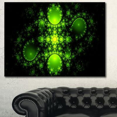 Designart Cabalistic Green Fractal Design AbstractCanvas Art Print
