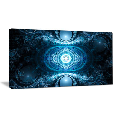 Designart Cabalistic Light Blue Pattern Abstract Canvas Art Print