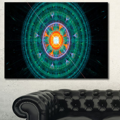 Designart Cabalistic Turquoise Fractal Sphere Abstract Canvas Art Print - 3 Panels
