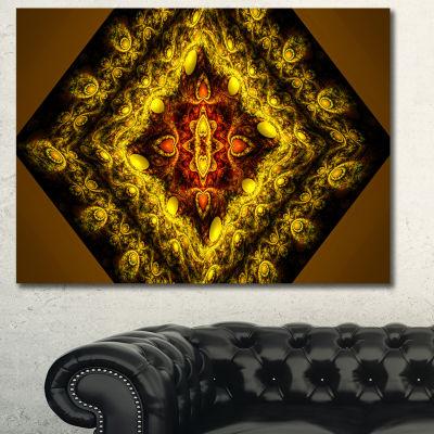 Designart Cabalistic Yellow Fractal Design Abstract Wall Art Canvas