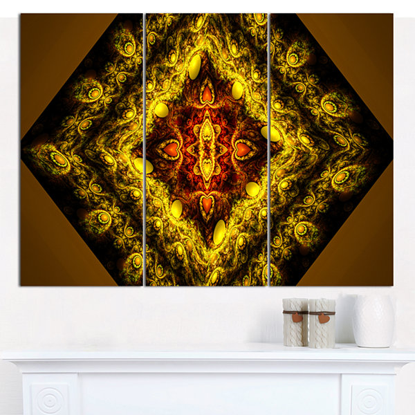 Designart Cabalistic Yellow Fractal Design Abstract Wall Art Canvas - 3 Panels