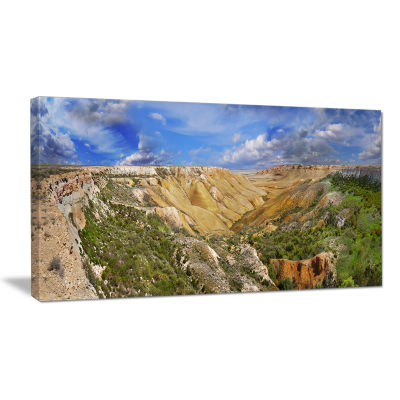 Designart Canyon On Slopes Of Plateau Ustyurt Landscape Canvas Art Print