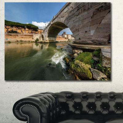 Designart Cestius Bridge Over Tiber River Landscape Canvas Art Print