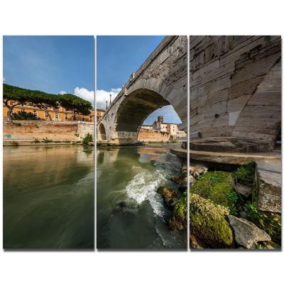 Designart Cestius Bridge Over Tiber River Landscape Canvas Art Print - 3 Panels