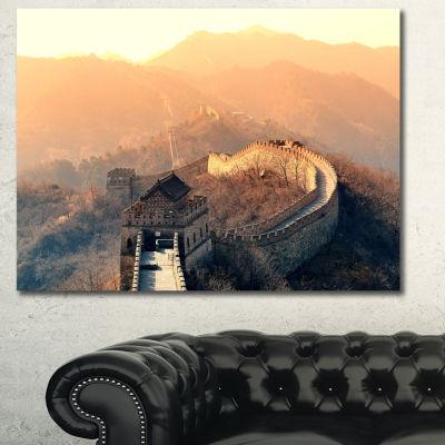 Designart China Great Wall Morning Landscape Canvas Art Print - 3 Panels
