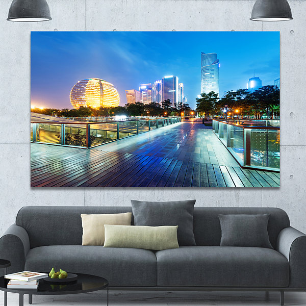 Design Art China Hangzhou Skyscrapers Cityscape Canvas Art Print - 3 Panels