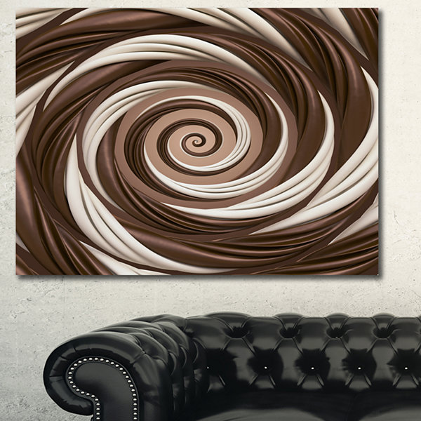 Designart Chocolate And Milk Candy Spiral Design Abstract Canvas Art Print