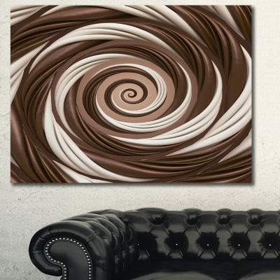 Designart Chocolate And Milk Candy Spiral DesignAbstract Canvas Art Print - 3 Panels