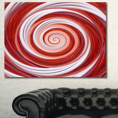 Designart Christmas Candy Cane Spiral Abstract Canvas Art Print