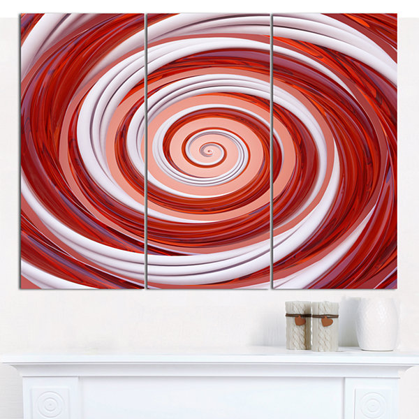Designart Christmas Candy Cane Spiral Abstract Canvas Art Print - 3 Panels