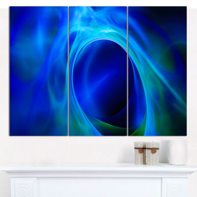 Designart Circled Blue Psychedelic Texture Abstract Art On Canvas - 3 Panels