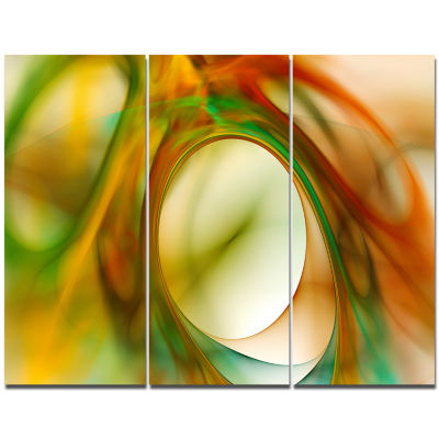 Designart Circled Green Psychedelic Texture Abstract Art On Canvas - 3 Panels