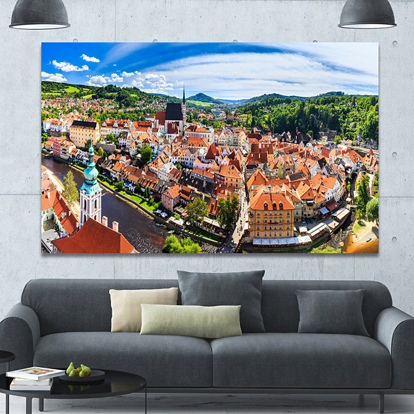 Designart City Aerial View Panorama Cityscape Canvas Art Print