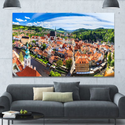 Designart City Aerial View Panorama Cityscape Canvas Art Print - 3 Panels