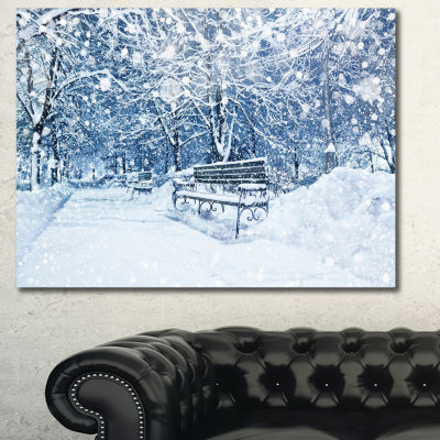 Designart City Covered With Snow Landscape CanvasArt Print