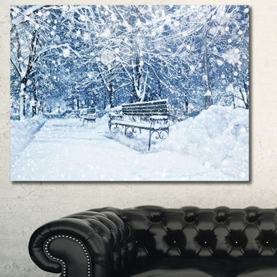 Designart City Covered With Snow Landscape CanvasArt Print - 3 Panels